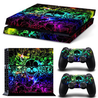 Cool Colourful Skull Vinyl Skin Sticker PS4 Decal for Sony PlayStation 4 Console+2 Pcs Cover Skin of Controllers