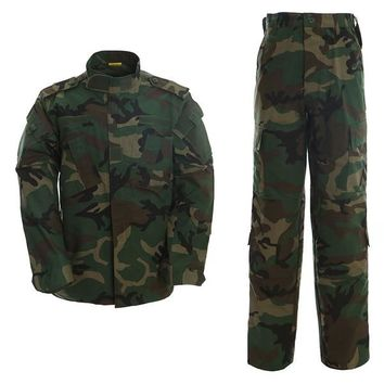 USMC BDU Inspired Military Tactical Hunting Airsoft Paintball Combat BDU Uniform Set Shirt & Pants Woodland