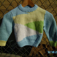 Blue/Yellow/Green/White Baby Sweater Ready to by LoveYewDesigns