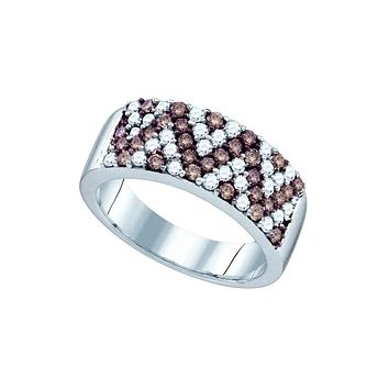 10kt White Gold Womens Round Cognac-brown Colored Diamond Chevron Band Ring 1.00 Cttw