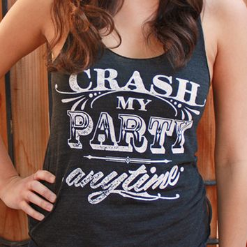 Crash My Party Anytime | Women's Tri-Black Racerback Tank Top