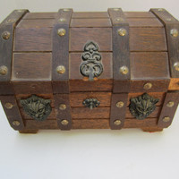 Handmade Wooden Steampunk Treasure Chest Camel Back Jewelry Box Stash Box