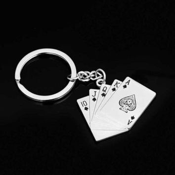 Funny Car Keychain Poker Keychain Male Personality Metal Key Chain Key Ring