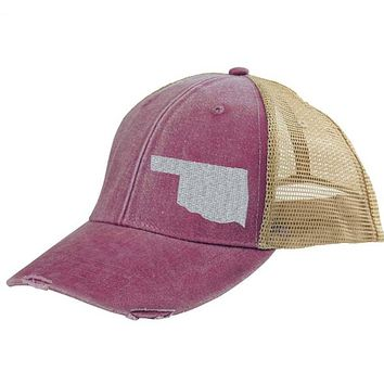 Oklahoma Hat - Distressed Snapback Trucker Hat - off-center state pride hat - Pick your colors