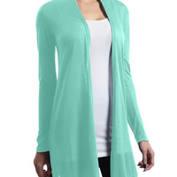 LE3NO Womens Flowy Long Sleeve Open Cardigan with Stretch (CLEARANCE)