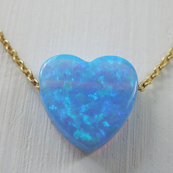 Gold Filled Necklace, Opal Heart Necklace, bff necklace, love necklace, opal necklace, heart necklace, Valentine day gift