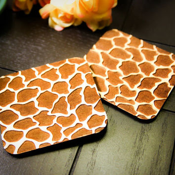 Custom Engraved Giraffe Print Coasters ~ Set of 4