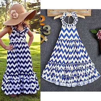 Girls Chevron Halter Maxi Dress