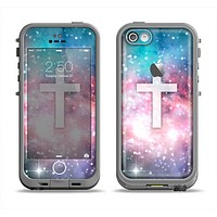 The Vector White Cross v2 over Colorful Neon Space Nebula Apple iPhone 5c LifeProof Fre Case Skin Set