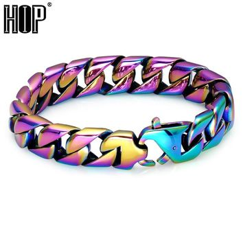 HIP Hop Rainbow Mens Bracelet Cool Colorful 316L Stainless Steel Curb Cuban Link Chain Bracelets For Men Rock Jewelry