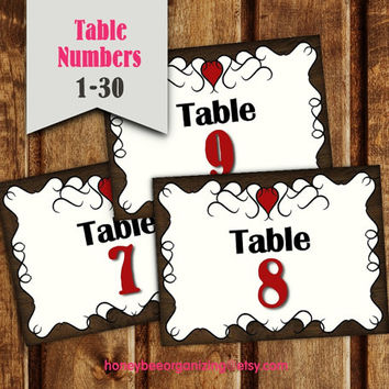 Printable Wedding Table Numbers - Printable Wedding Place Card - Wedding Reception Sign - Country Table Numbers