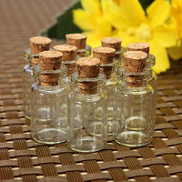 10 pcs Cute Mini Clear Cork Stopper Glass Bottles Vials Jars Containers Small Wishing Bottle#ZH210