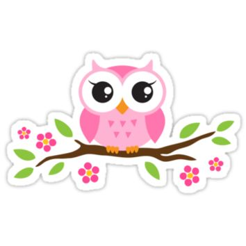 Cute pink cartoon baby owl sitting on a branch with leaves and flowers
