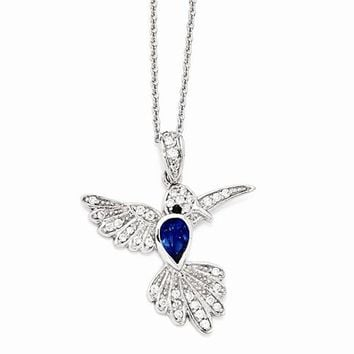 Sterling Silver CZ & Synthetic Dark Blue Spinel Hummingbird Necklace