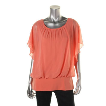 Style & Co. Womens Crepe Flutter Sleeves Pullover Top