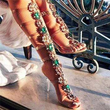 Shooegle Gem Summer Shoes Woman Perspex High Heel Clear Boots PVC Buckle Straps Sandalias Crystal Knee High Gladiator Sandals