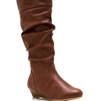 A-Little-Wedge-Slouchy-Boots BLACK BROWN CHESTNUT - GoJane.com