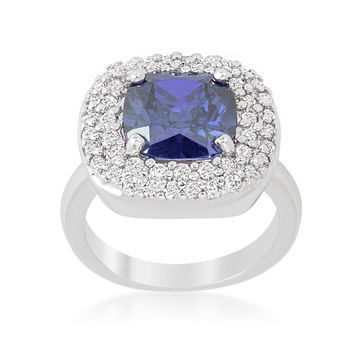 Regina Lavendar Purple Cushion Cut Cocktail Ring | 5 Carat | Cubic Zirconia