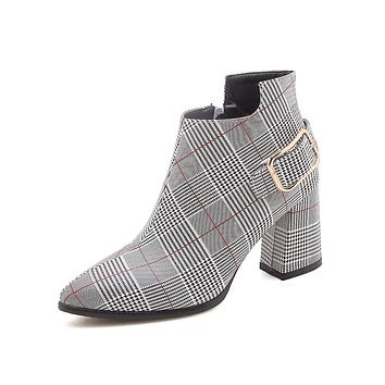 Pointed Toe Plaid Ankle Boots Zipper Shoes 5206