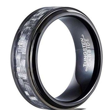 CERTIFIED 8mm Black Tungsten Carbide Ring Vintage Design Wedding Jewelry Grey Carbor Fiber Engagement Promise Band