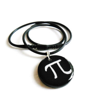 Pi Necklace, Math Constant Science Jewelry, Black and White Hand Painted Pi Symbol Necklace, Geek Scientific Jewelry, Mathematical Jewelry