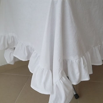 """Shabby Chic Tablecloth  - White  Tablecoth  Ruffle 60""""x 52"""" Organic fabric %100 Cotton"""