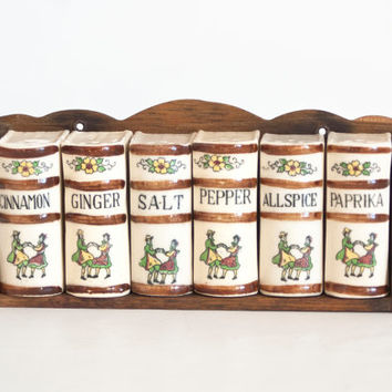 Vintage Wooden Wall Spice Rack with Containers, Book Shaped Seasoning Shakers, Salt Pepper Ginger Allspice, Paprika Cinnamon
