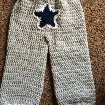 Crochet Toddler 24 Months Gray Dallas Cowboys Football Pants with Belt
