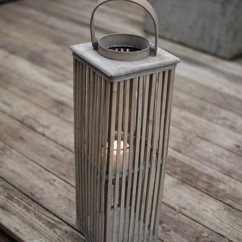Small Square Bamboo Lantern With Glass - Grey