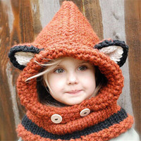 Toddler Girls Boys Baby Winter Beanie Warm Knitted Fox Hat