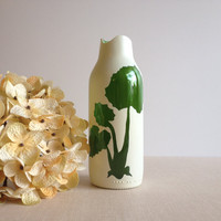 Bud Vase, Cream and Green glass, botanical plants, coltsfoot