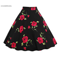 Charmian Women's Vintage Retro Skirt High Waist Flared Lolita Christmas Skirt Polka Dot Floral Rockabilly Casual Skirt Saia