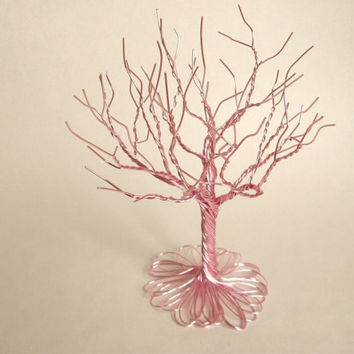 Pretty in pink - A twisted wire tree sculpture for girl's room.