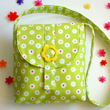 Messenger Bag For Girls,Kids Cross Body Bag, Girl Messenger Bag, Small Messenger Bag-Chartreuse Daisy with Yellow Flower Buckle For 2-6yrs