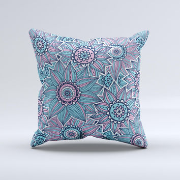 The Pink & Blue Flowered Pattern ink-Fuzed Decorative Throw Pillow