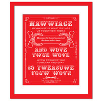 The Princess Bride Clergyman Mawwiage Quote - Twue Wove - True Love - Art Print - Quotation Typography Poster - 8 x 10 Wall Art Wedding Gift