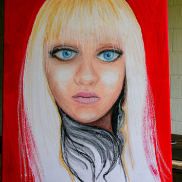 Portrait of a girl blue eyes on red background 16 x 20 inch oil. Signed with certificate of guarantee by Luis Villeda (MrN)