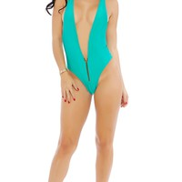 Teal Plunging One Piece Women Swimsuit