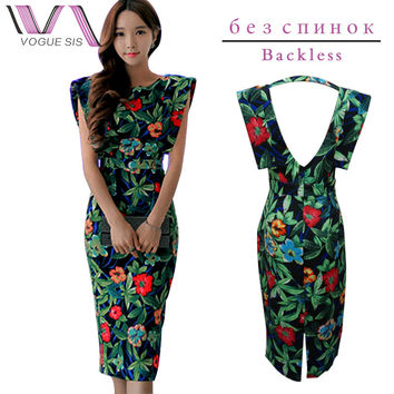 VOGUE SIS Women Summer Cotton Bodycon Dress Split Backless Sexy Floral Print Party Vestidos Club Plus Size O-Neck Midi Dress