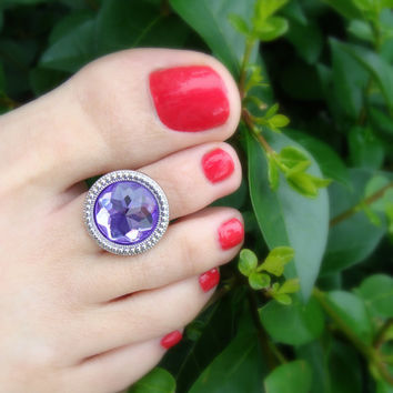 Toe Ring - Purple Glass - Round Silver Plate - Stretch Bead Toe Ring