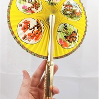 Hand Held Folding Fan, Yellow, Foldaway Fan, Portable Purse Size, Made in Hong Kong