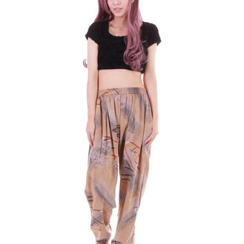 Slouchy Rayon Pants Abstract Print Brown Beige Hammer Tapered Baggy Trousers 80s 90s Hip Hop Hipster Yoga Clothing Womens Size Small Medium
