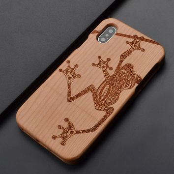 Frog Natural Wood Carved Phone Case For Iphone 6 6s 6Plus 6sPlus 7 7Plus Samsung S7 S6 S5 Note 5 Z0034