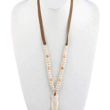 Arrowhead Wooden Bead Faux Suede Necklace