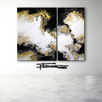 XTRA BLACK AND GOLD - Original Resin Painting (2 Piece)