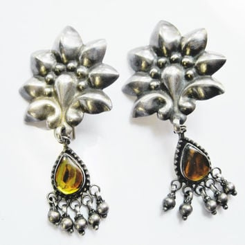 Indian Silver Earrings, Tribal Big Fashion Statement Earrings from India