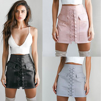 Explosion Autumn Winter Lace Up Bandage Skirt Womens Cross High Waist Zipper Bodycon Skirts Sexy Elegant PU Leather Skirt GV451