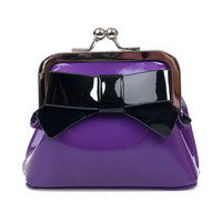 Purple & Black Bow Patent Floozy Coin Purse