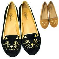 Black, Cognac Kitty Cat Face Faux-Suede Loafers Paprika Bobcat-S | Shoetopia.com