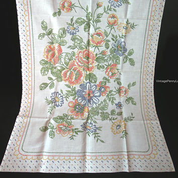 Vintage Tablecloth, Luncheon Cloth, Faux Cross Stitch Floral Design, Cotton Table Decor